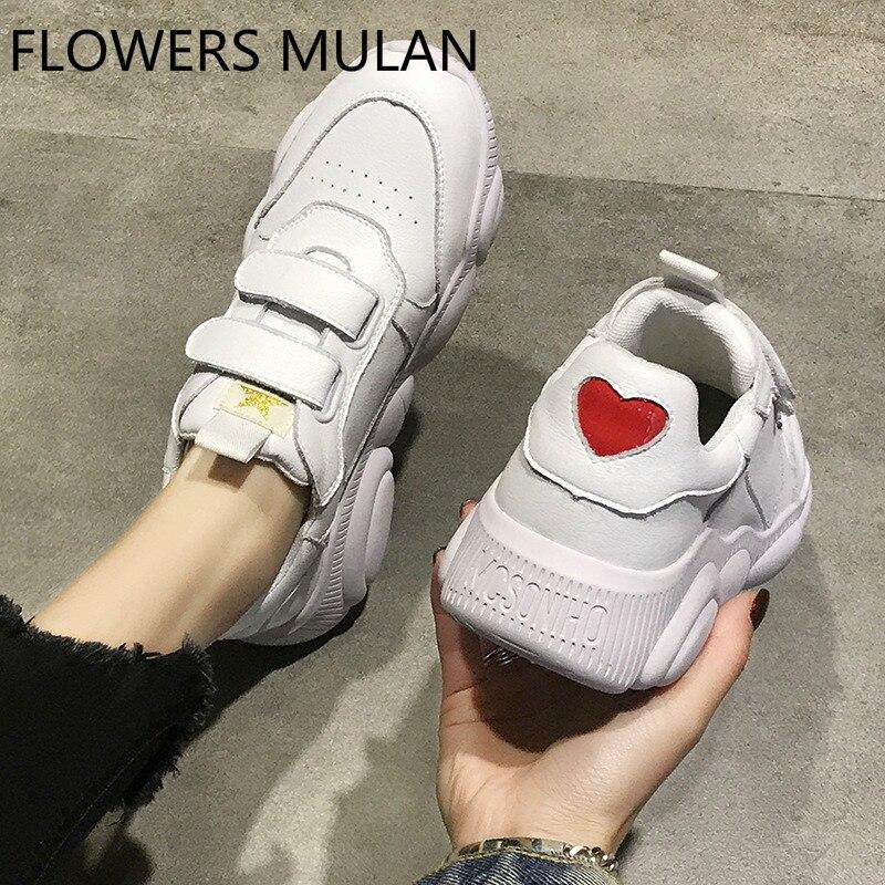 Luxe Designers femmes chaussures Chic couture supérieure Zapatos De Mujer bout rond deux crochet & boucle ours caoutchouc talon plate-forme baskets
