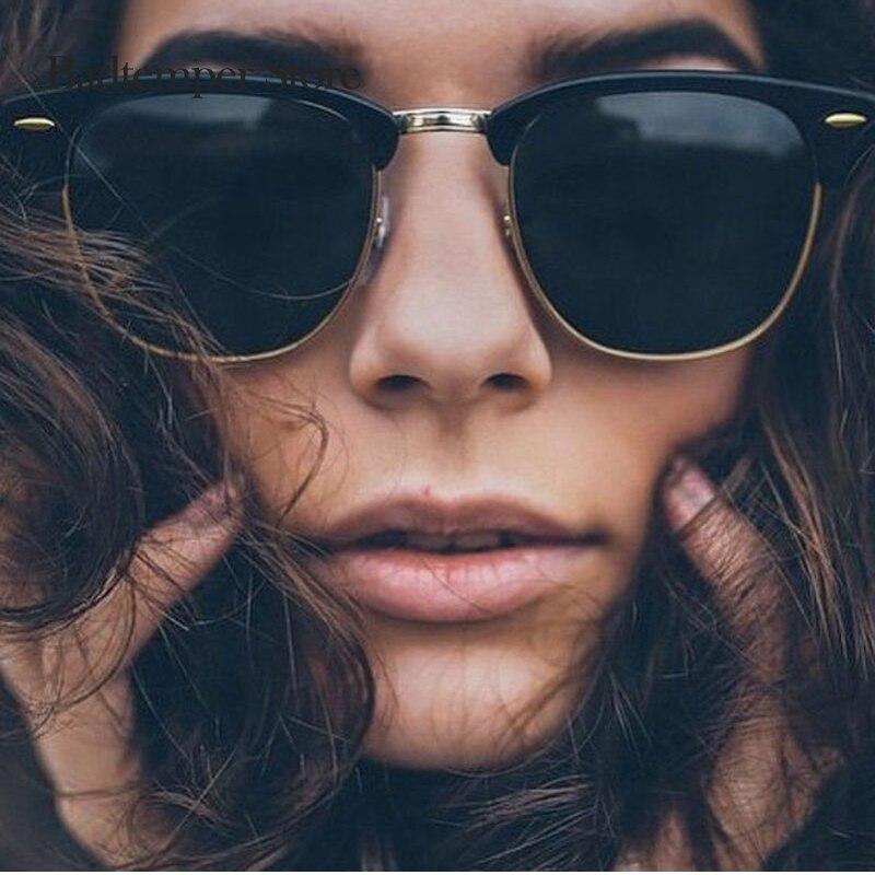 ROUPAI Männlich-weibliche Shades Vintage Kleine Männer Frauen UV Schützen Rays Niet Klassischen Halb Felgen Rahmen Spiegel Mode Sonnenbrillen