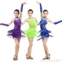 Woman Latin Dance Skirt Children Paillette Tassels Dress Summer New Pattern Sleeveless A Juvenile Match Practice