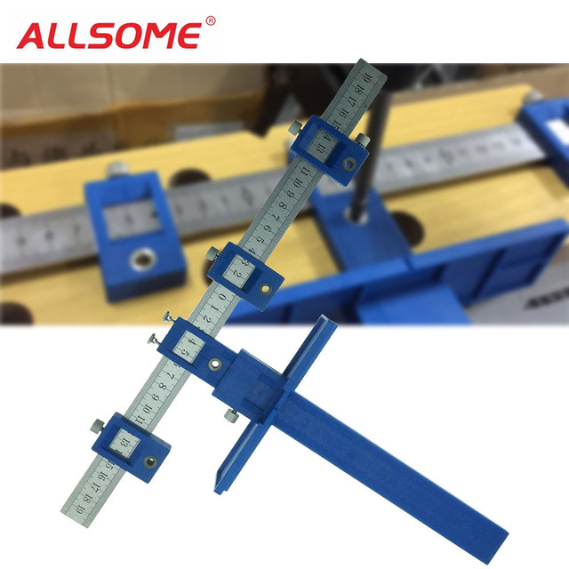 ALLSOME Drill Guide Sleeve Cabinet Hardware Jig Drawer Pull Jig Wood Drilling Dowelling Hole Saw Master System HT1436