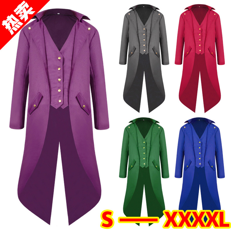 Medieval tails Cosplay Men's Coat Fashion Steampunk Vintage Tailcoat Jacket Gothic Victorian Frock Coat Men's Uniform Costume