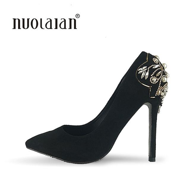 Brand 2018 Womens High Heels Shoes Luxury Designer Rhinestone Wedding Shoes  Woman 12cm Pumps Women Zapatos Mujer 42e1519bb84