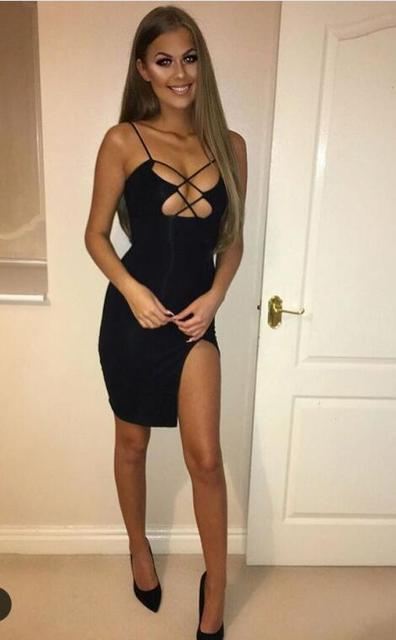 b7568478cc Hot Girl Dress! Black Summer Spaghetti Strap Women Party Sexy Bandage Dress  Celebrity Women Dresses Vestidos Wholesale