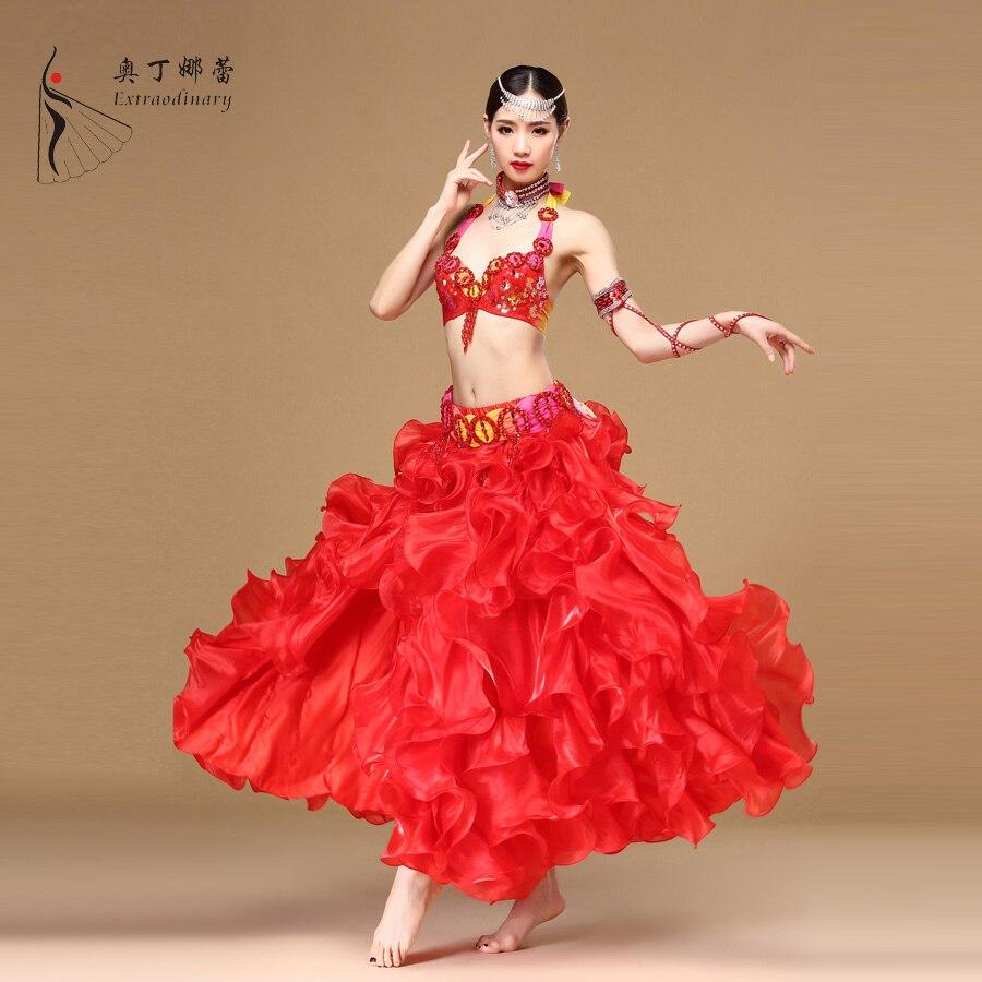 Odin narelle Belly Dance Suite single slit skirt Beaded bra corset Dance Costume