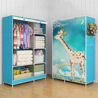 3D Cartoon Pattern Folding Cloth Wardrobe Closet Children Room Decorate Storage Cabinet Bedroom Assembly Wardrobe Home Furniture