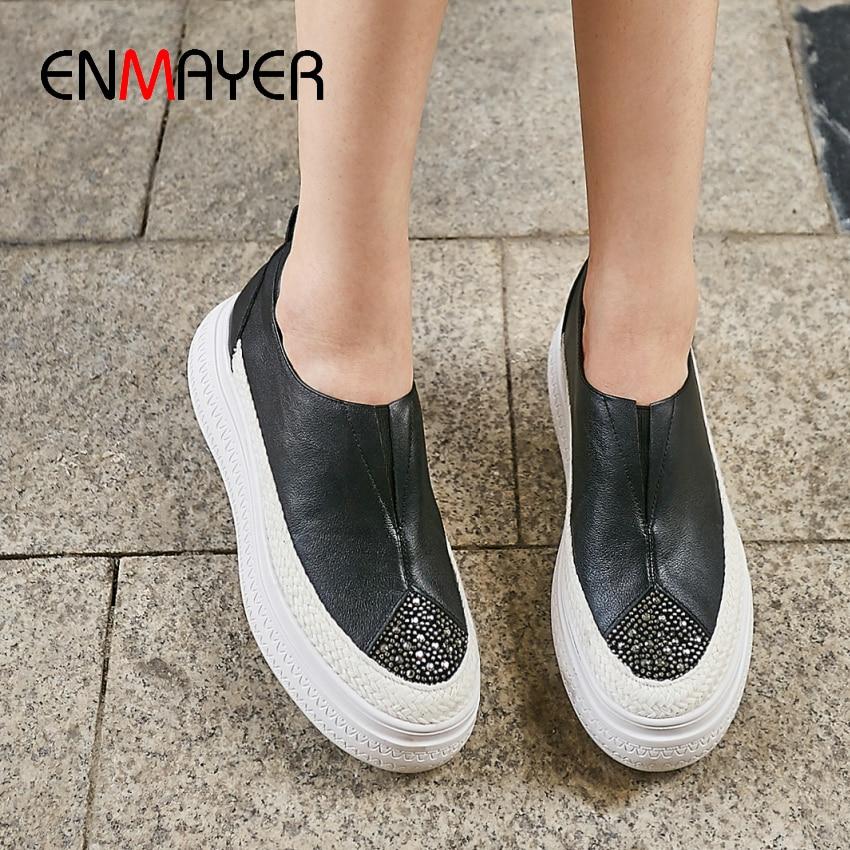 ENMAYER Luxury Shoes Women Platform Heels Genuine Leather Round Toe Slip On Fashion Shoes 2019 Women
