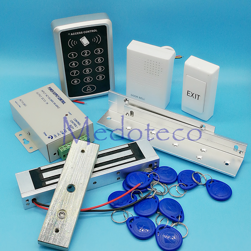 Rfid Door Access Control System 125Khz Rfid Card Access Control System Kit +Electric Magnetic Lock+ ZL Bracket & Power Supply