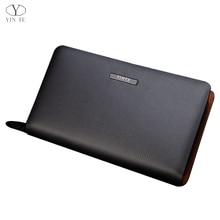 YINTE Men's Clutch Wallets Leather Long Wallets Men Silver Brown Bag Zipper Wallet Passport Purse Men Wallet Portfolio T2025-2