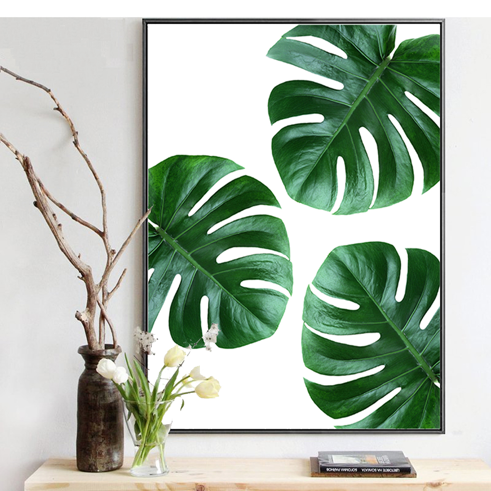 Watercolor Green Plants Monstera Nature Posters And Prints: Tropical Plant Leaves Monstera Deliciosa Canvas Print