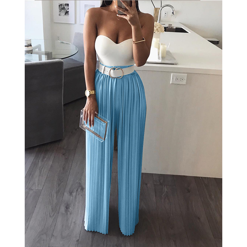 2019 Summer OL Chiffon Pleated Solid Trousers High Waist Loose   Wide     Leg     Pants   Oversize Female Elegant Trousers Fashion Clothing