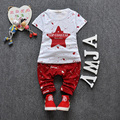 Garcon Enfant traje 2016 Verão Novo Conjunto de Roupas de Bebê Menino Crianças Pentagrama T-shirt + calças Terno Define Crianças Roupas de desenhos animados