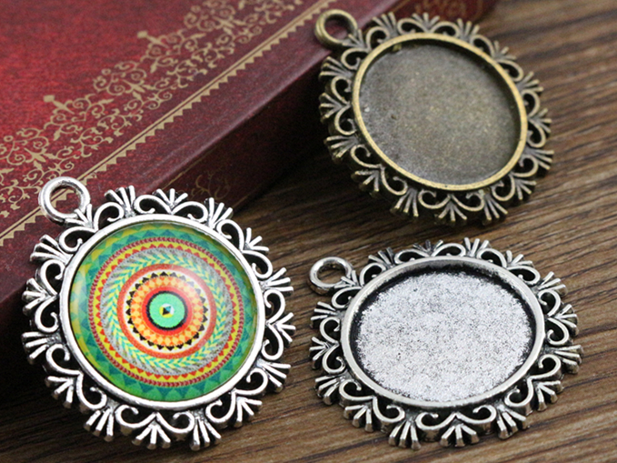 10pcs 20mm Inner Size Antique Silver And Bronze Colors Plated Snowflake Style Cabochon Base Setting Charms Pendant