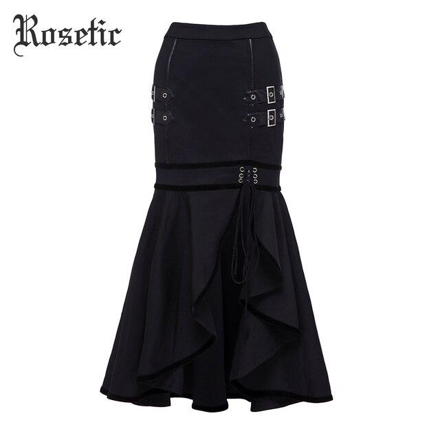 Rosetic Готический русалка юбка черные осенние Для женщин блестками Кружево на шнуровке в готическом стиле панк Bodycon уличный стиль Асимметричная гот Трубы Юбки для женщин