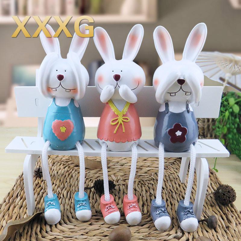XXXG Drei Kaninchen Puppe Hauptlieferungsdekoration Cartoon Am Wohnzimmer Schrank Regal Kleine Ornamente Schne Tv De