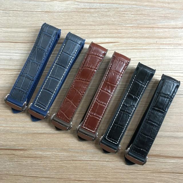 20mm 22mm Dark Blue Black Brown Rubber With Leather Watch Band Strap For OMEGA Planet Ocean Seamaster 300 Speedmaster Bracelet