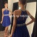 Pretty Sexy Halter  Neck Blue Short Cocktail Dress 2016  Sleeveless A- Line Beading Chiffon  Above Knee Length  Dress W3352