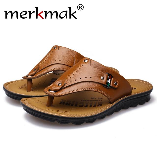 9298d74c71ece6 Merkmak Casual Men Sandals Shoes 2018 Fashion Genuine Leather Summer Beach  Men Flip Flops Handmade Male Flats Footwear Drop Ship