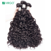 Volys Virgo Brazilian Water Wave Human Hair Extensions Remy Hair Weave Bundles Natural Black 1 / 3 / 4 PCS can be Dyed/Bleached