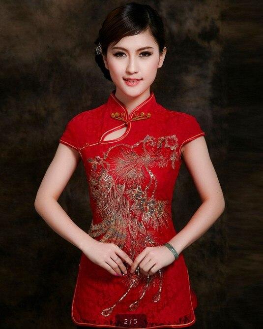 Manera de las mujeres chinas rojas clothing encaje de algodón blusas camisa tops