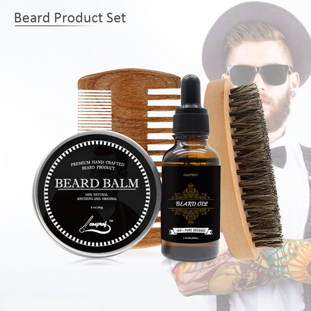 Cosprof Beard Oil ,Balm ,Brush and Comb Kit for Men-Beard Care Gift Set with Organic Ingredients Mustache Moisturizing 4pcs/Set
