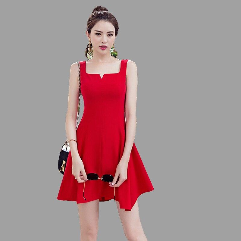 2018 nouvelles robes d'été chinois rouge robes femmes sans manches Fit et Flare Mini robe de soirée dames col en V Sexy solide plage Bar D