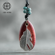 Handmade Wooden Necklaces Feather Rope Sweater Chain Wood Pendant Handmade Women Accessories Zinc Alloy Vintage Necklace graceful alloy faux feather necklace for women