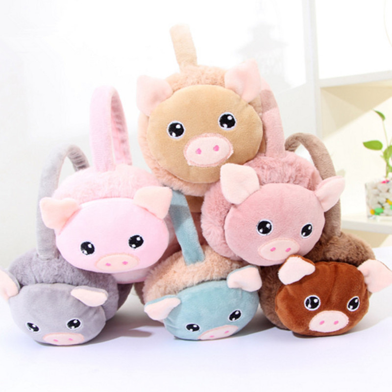 Cartoon Pig Winter Children Earmuffs Cute Animals Earmuffs Boys Girls Keep Ears Warm Earmuffs For Kids AD0703
