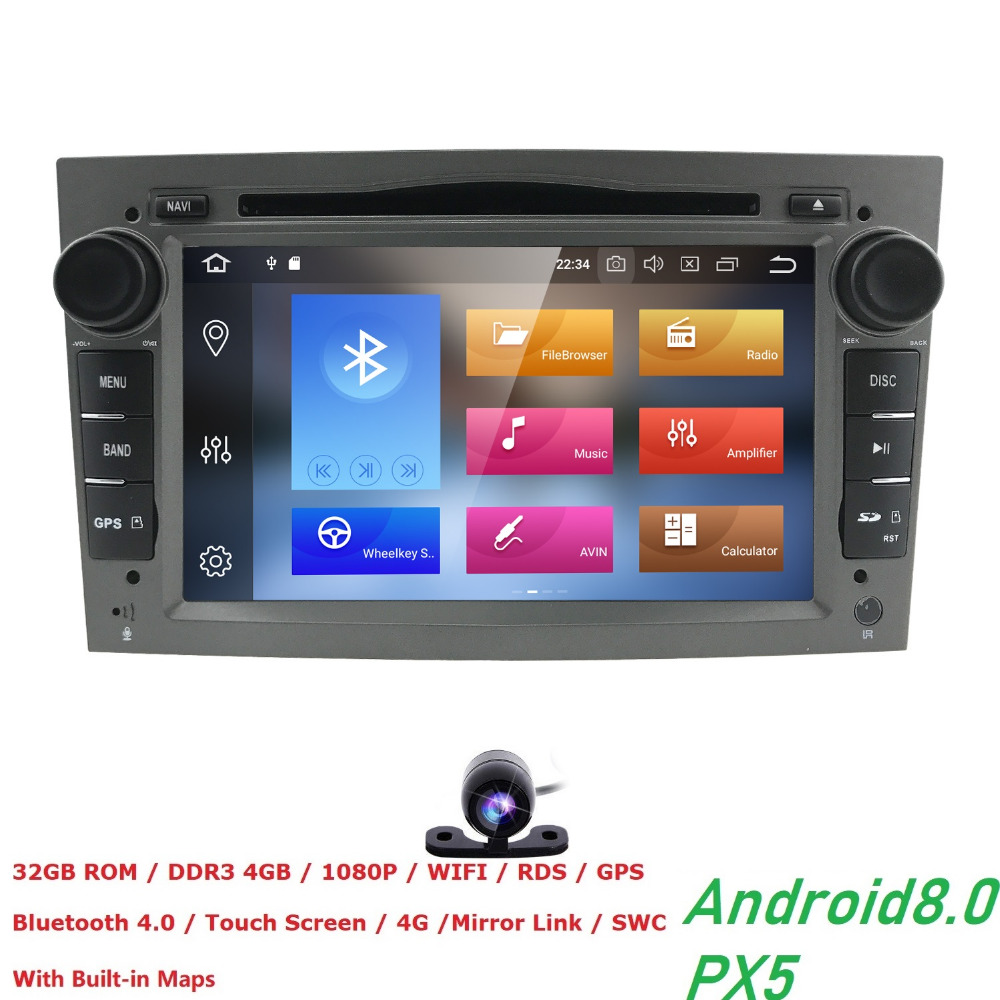 Lecteur DVD de voiture Radio Android 8.0 2 Din pour Opel Vectra C b Corsa D C multimédia zafira b k Astra H G J navigationMeriva gps Wifi