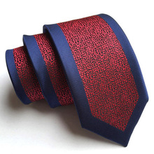 6cm Classic Skinny Tie Designer Panel Necktie Blue Border With Red Fashion Neck Ties