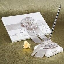 Бесплатная доставка белая Свадебная Гостевая книга и перо набор Свадебные украшения свадьба поставок сувениры Casamento lembrancinha