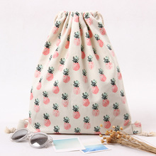 Original Travel Storage Drawstring Bag Summer Beach Cute Pineapple Print Women Backpack Literary Canvas Bag for Girls Picnic