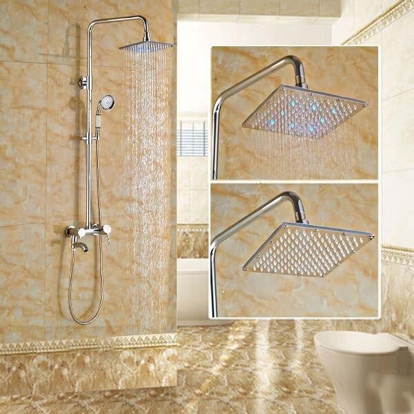 Chrome Finish LED 8'' Shower Faucet w/ Hand Shower Swivel Tub Spout Shower Column thermostatic valve mixer tap w hand shower tub spout tub faucet chrome finish