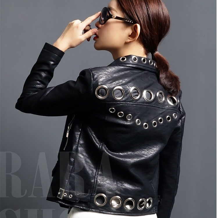 Spring New fashion brand Thailand style rivet beading hole design cartton locomotive Pu   leather   short jacket wq2011