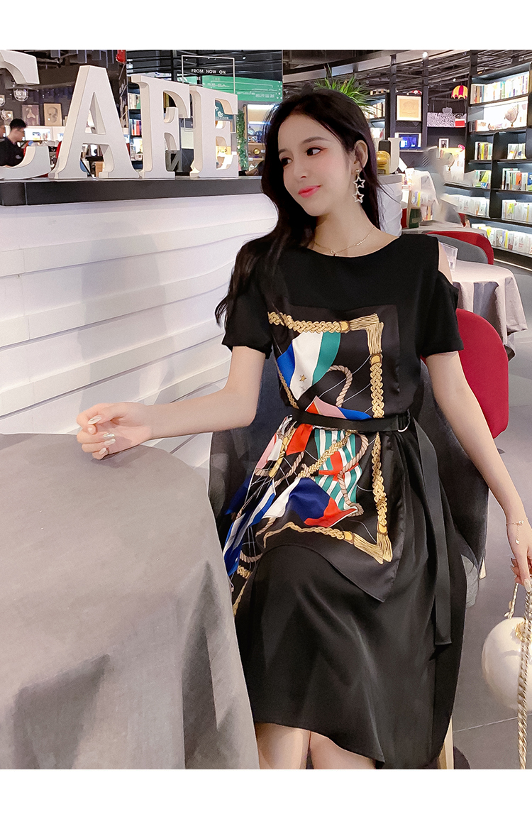 Fashion Summer Women Casual Dress High Street Print Belt Short Sleeve Loose Dress Sexy Off Shoulder Patchwork Hit Color Dress 13