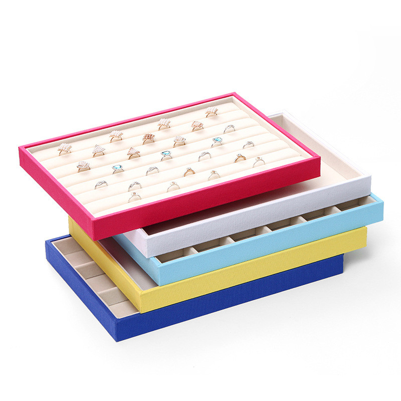 Fashion Suede Stud Earrings Ring Jewelry Display Organizer Jewelry Box Case Jewelry Casket Rack for Ring Earring caja 35*24*3cm