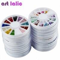 20x Nail Art Mixed Glitter Rhinestones Pearl Wheels