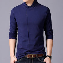 2017 Novelty Men's Clothing Long Sleeved Young Casual t shirt Tees Double-layer Mandarin Collar Bamboo Fiber Blue Solid T-shirt