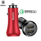 Baseus QC3.0 USB Car Phone Charger For iPhone 7 Samsung galaxy S8 Xiaomi Phone Charger 5V 3A Dual USB Car-Charger Fast Charging