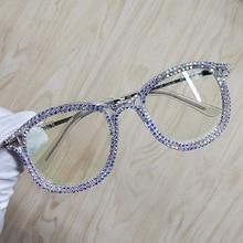 نظارة شمسية بإصبع عين القطة من حجر الراين للنساء بتصميم علامة تجارية نظارات شمسية للرجال نظارة شمسية عتيقة معدنية شفافة UV400