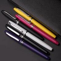 Picasso Pimio Zilveren Clip Geel Roze Paars Zwart Wit Rollerball Pen 1 stk/partij Zwarte Inkt Kantoor Metalen Teken Pennen met Een Geschenkdoos