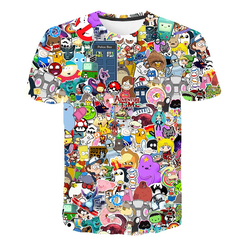 Cloudstyle Animated Male/female T-shirt 3D Printed Fun Gintama Bleach T-shirt Cartoon Jigsaw Naruto