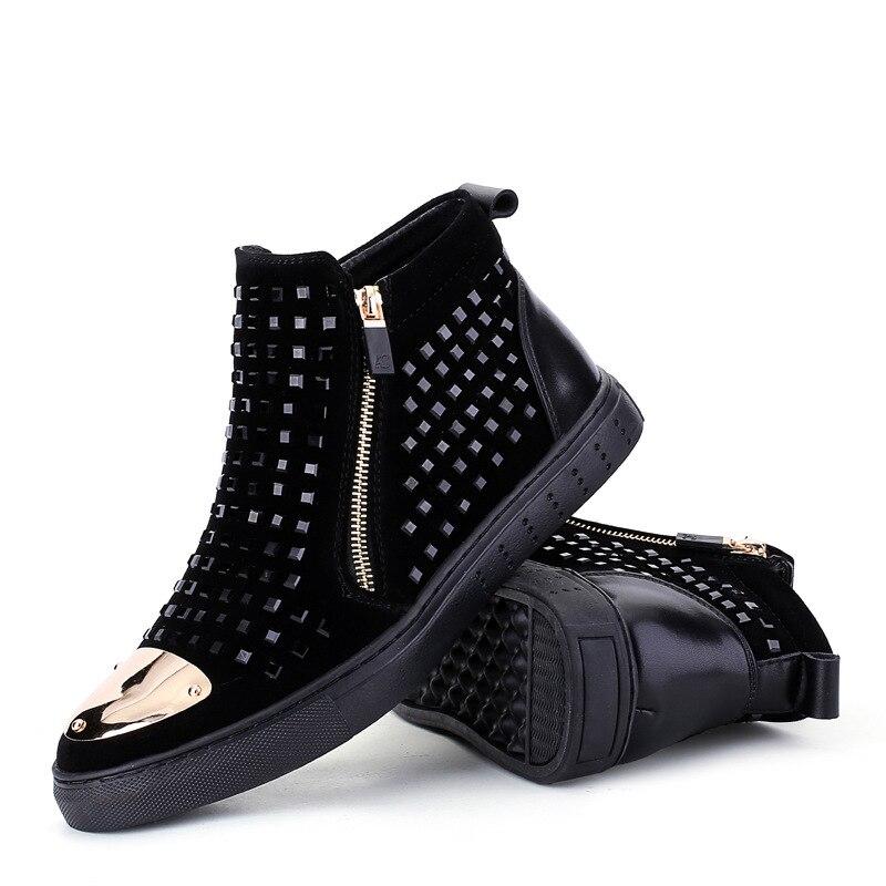 Britannique automne cuir de haute aide conseil chaussures bottes de rivets bottes hommes chaud forage hommes