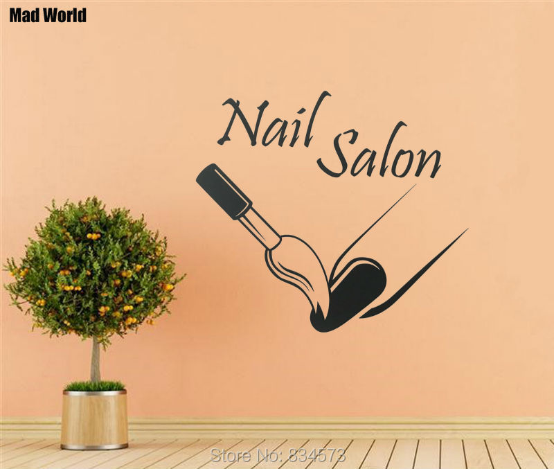 Mad World Woman Manicure Nail Beauty Nail Salon Wall Art Stickers Wall Decal Home DIY Decoration Removable Decor Wall Stickers-in Wall Stickers from ...