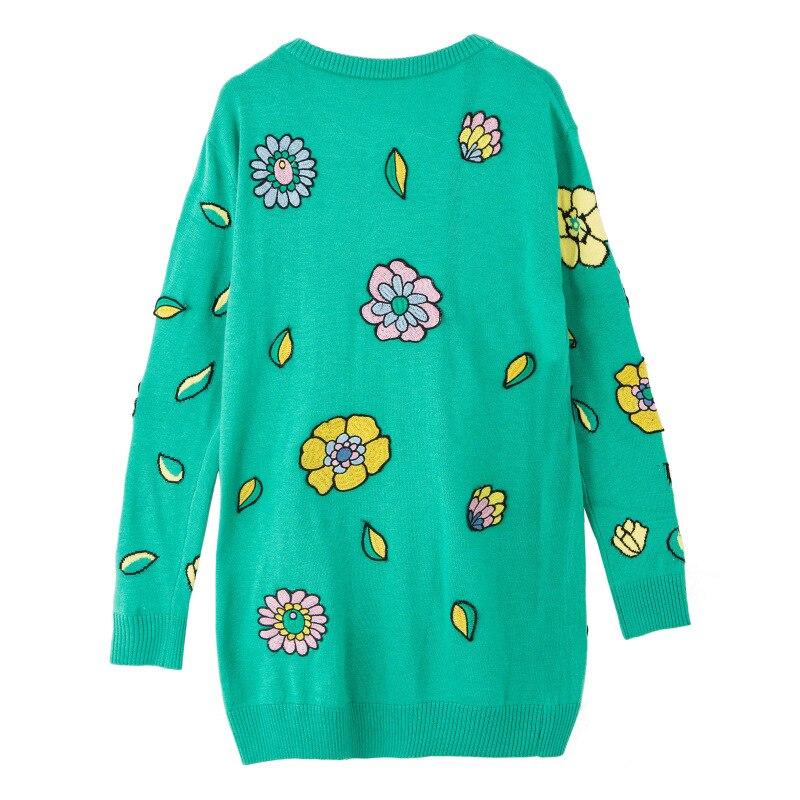 Brodé Femmes Pulls Floral vert Chandails Perles Long Manches De Noir Singe Automne Longues Jacquard Noir 2018 xp4fqwv