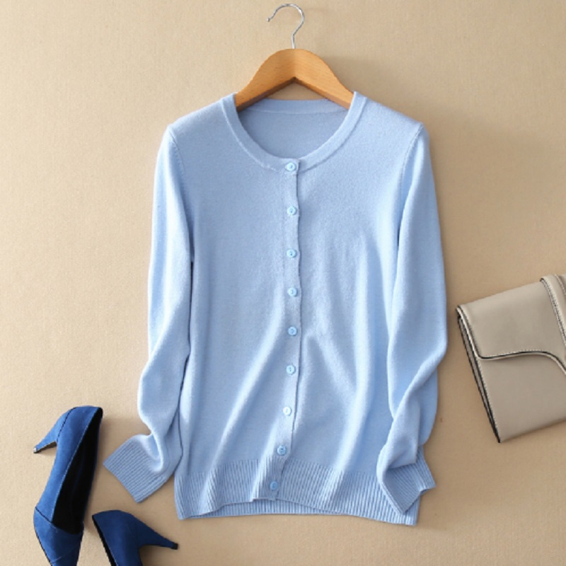 2019 Women's Sweater Autumn And Winter Cashmere Sweater O-neck Knit Cardigan