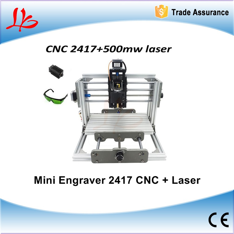 mini CNC 2417 + 500mw laser CNC engraving machine Pcb Milling Machine Wood Carving machine diy mini cnc router with GRBL control mini cnc router with 500mw laser head pcb milling machine work area 240 170 65mm