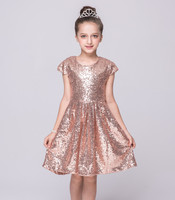Kids Knee Length Blue Hot Pink Pink Bling Bling Party Dresses Children Clothes One Pieces 2