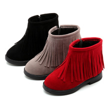 Children Snow Boots 2018 Kids Martin for Girls Warm Plush Fringe Winter Shoes 3 4 5 6 7 8 9 10 11-14 Red Black