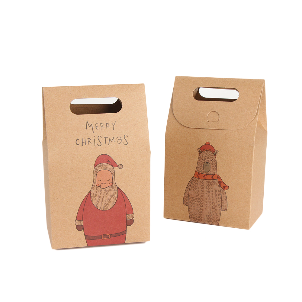 10Pcs Christmas Kraft Paper Gift Bags Xmas Party Cookies Pouch Candy Present Box