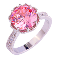 lingmei Wholesale Romantic Love Sweet Style Fashion Gift Round Cut Pink & White Sapphire 925 Silver Ring Size 6 7 8 9 10 11